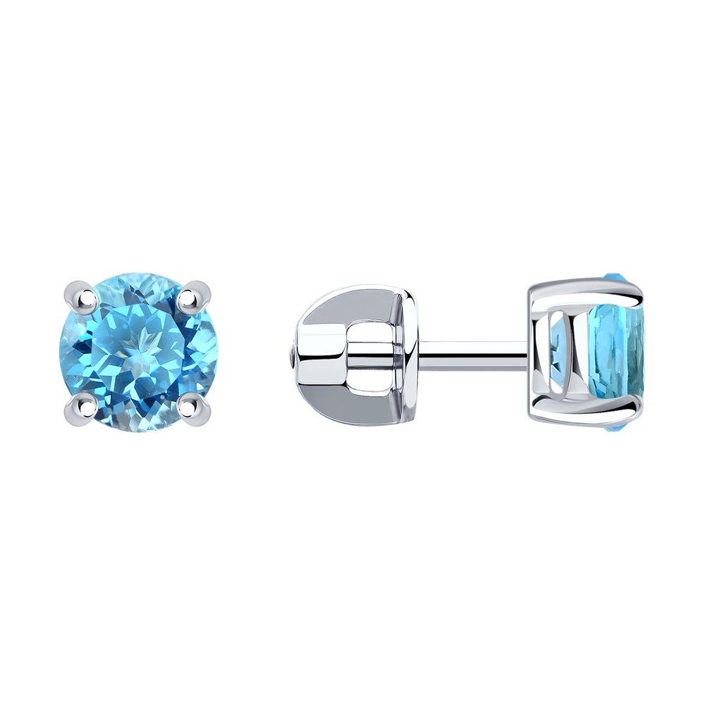 Фото - Серьги-пусеты SOKOLOV из серебра с голубыми фианитами ura jewelry серые серьги пусеты из серебра котики ura jewelry