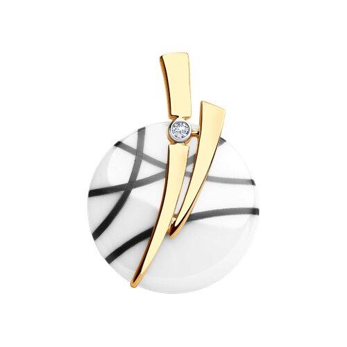 Подвеска из золота с бриллиантом и керамикой (6035051) - фото