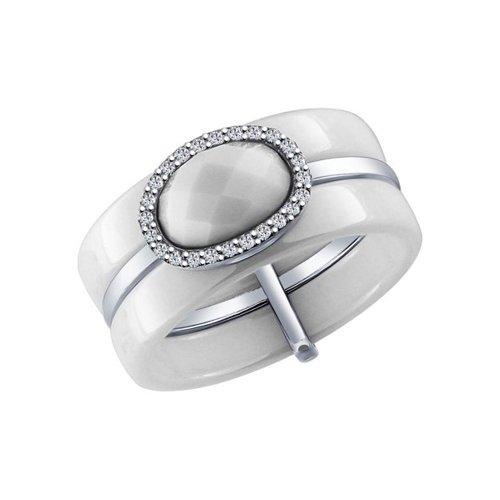 Белое керамическое кольцо с серебром и фианитами SOKOLOV