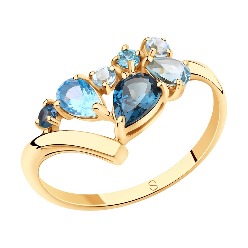 Кольцо SOKOLOV из золота с голубыми и синим топазами и фианитами фото