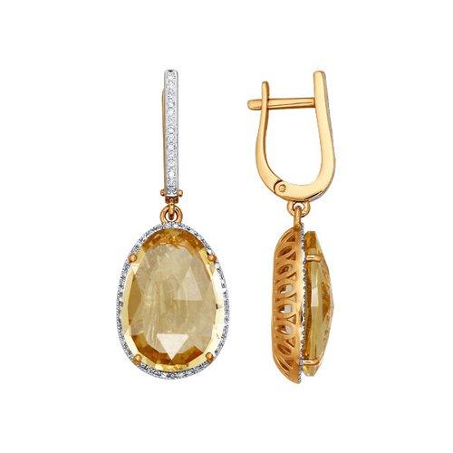 Серьги из золота с бриллиантами и цитринами