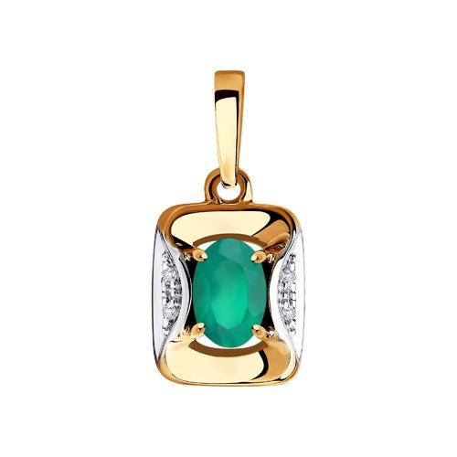 Подвеска из золота с бриллиантами и агатом (6033013) - фото