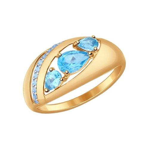 Кольцо из золота с голубыми топазами и голубыми фианитами