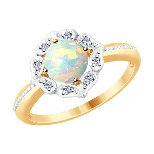 Кольцо из золота с бриллиантами и опалом (6014063) - фото
