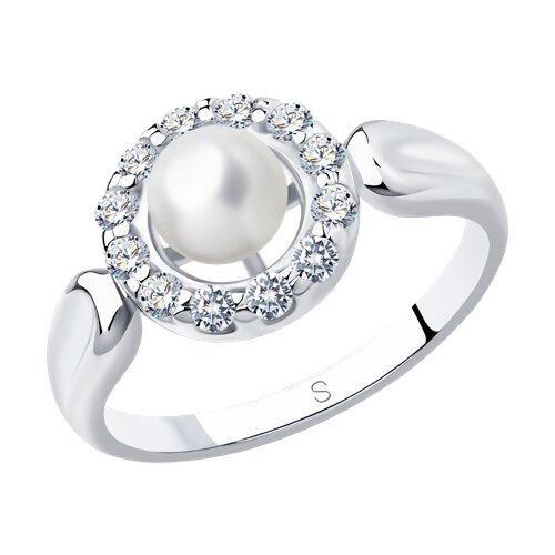 Кольцо из серебра с жемчугом и фианитами (94012659) - фото