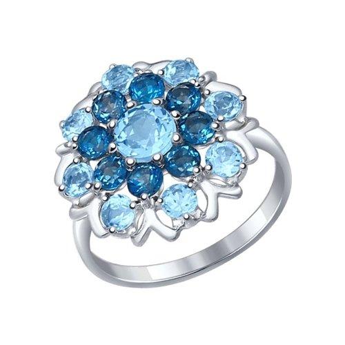 Кольцо из серебра с полудрагоценными вставками (92011221) - фото