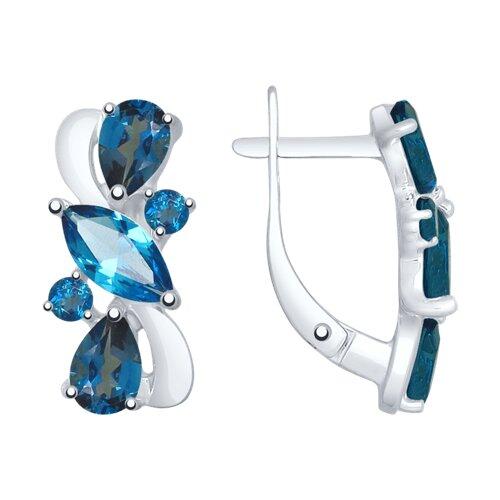 Серьги из серебра с синими топазами 92021802