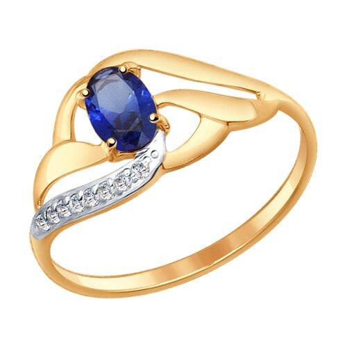 Кольцо из золота с синим корундом (синт.) и фианитами (37714648) - фото