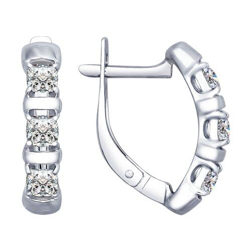 Серьги из серебра со Swarovski Zirconia (89020059) - фото