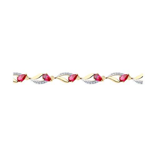Браслет из золота с корундами рубиновыми (синт.) и фианитами