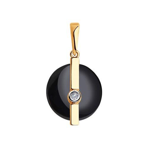 Подвеска из золота с бриллиантом и чёрным керамической вставкой