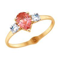 Кольцо из золота с бесцветными и розовым Swarovski Zirconia