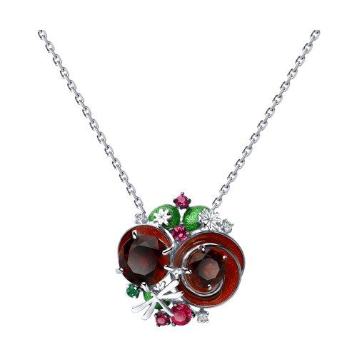 Колье из серебра с эмалью и красными ситаллами и фианитами