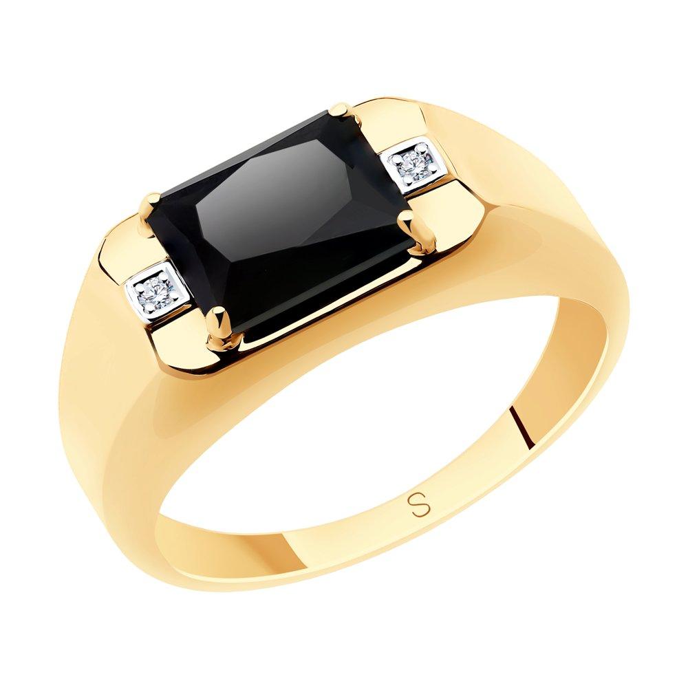 Кольцо SOKOLOV из золота с ониксом и фианитами