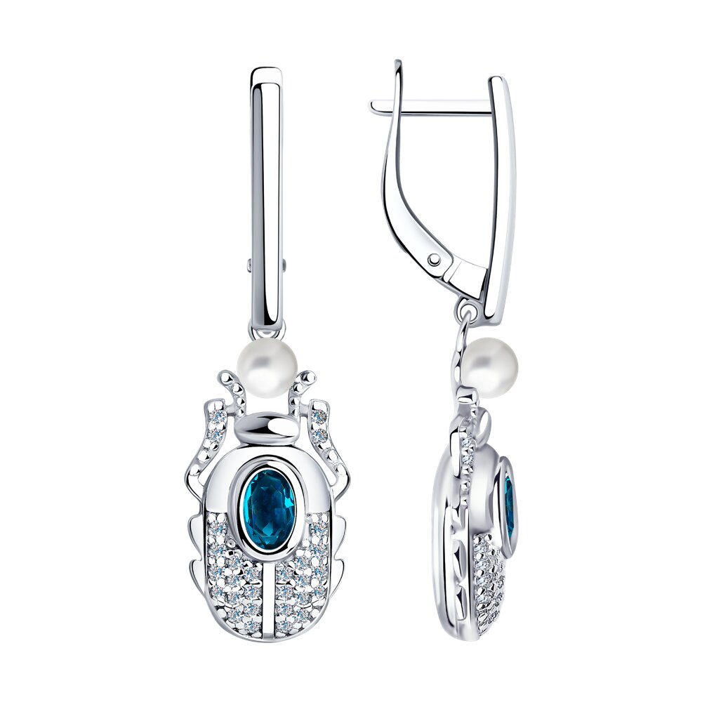 Серьги SOKOLOV из серебра с жемчугом Swarovski, кристаллами Swarovski и фианитами серьги swarovski 5514420