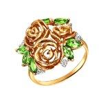 Кольцо из красного золота с хризолитами «Розы»