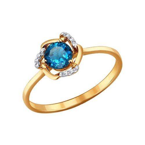 Кольцо из золота с топазом и фианитами (714079) - фото