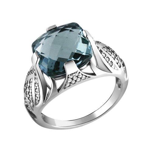 цена на Красивое серебряное кольцо с кварцем SOKOLOV