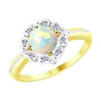 Кольцо из желтого золота с бриллиантами и опалом