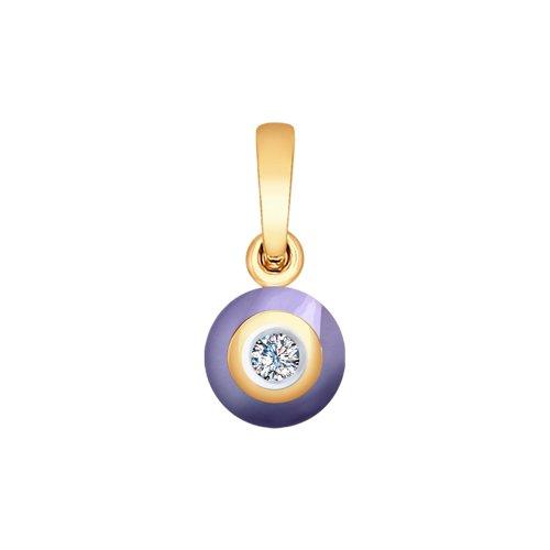 Подвеска из золота с бриллиантом и керамикой (6035033) - фото