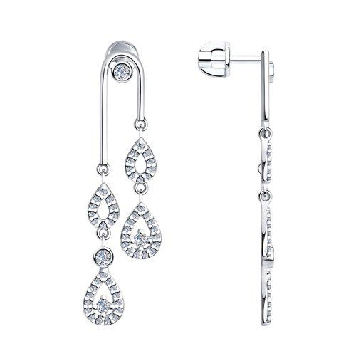 Серьги из серебра с фианитами (94023659) - фото