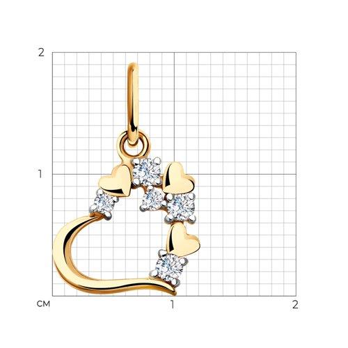 """Подвеска """"Сердечко"""" из золота с фианитами 035535 SOKOLOV фото 2"""