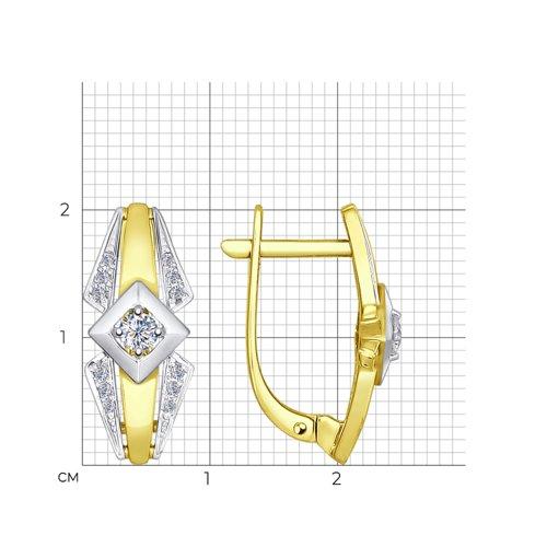 Серьги из желтого золота с бриллиантами 1021009-2 SOKOLOV фото 2