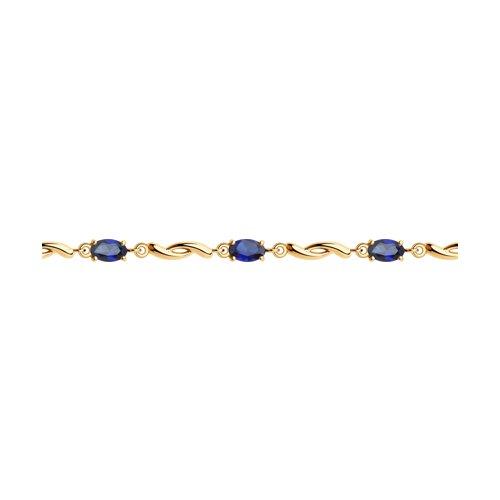 Браслет из золота с синими корунд (синт.)