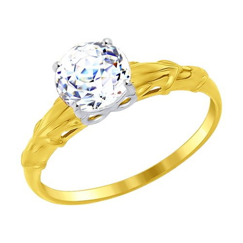 Кольцо из желтого золота со Swarovski Zirconia (81010262-2) - фото