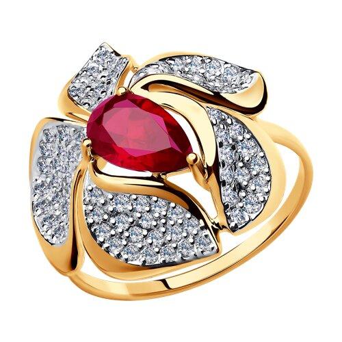 Кольцо из золота с корундом рубиновым (синт.) и фианитами (714710) - фото