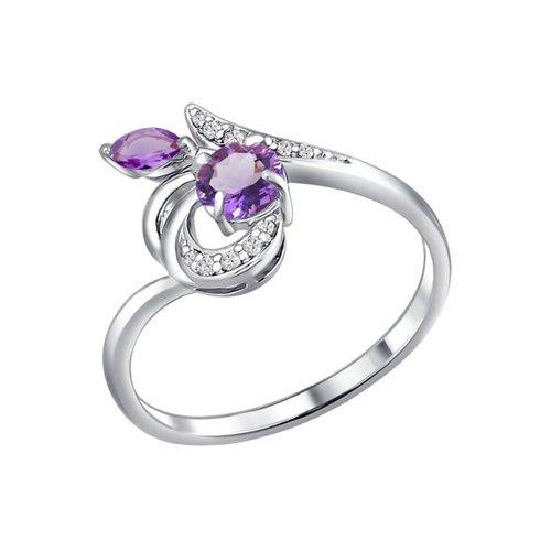 Изящное серебряное кольцо с аметистами и фианитами