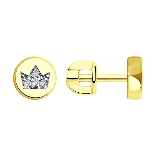 Серьги из желтого золота с фианитами (028770-2) - фото