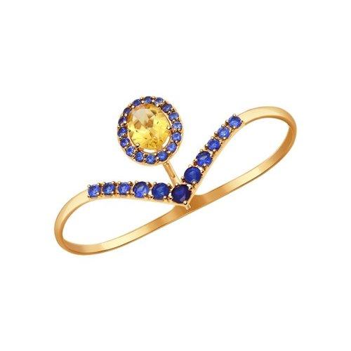 Кольцо на два пальца из золота с полудрагоценными вставками