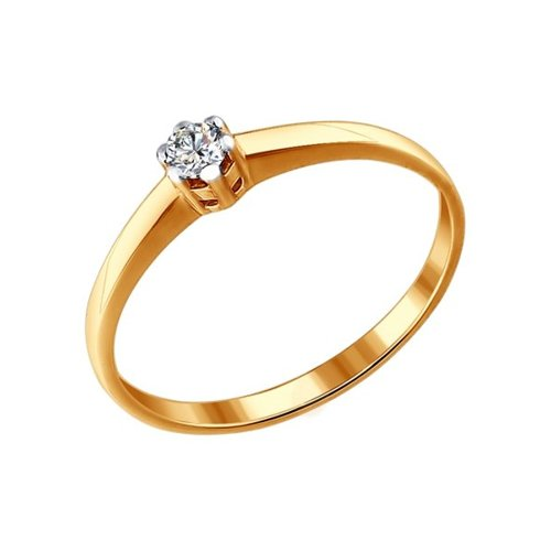 Золотое помолвочное колечко с бриллиантом SOKOLOV