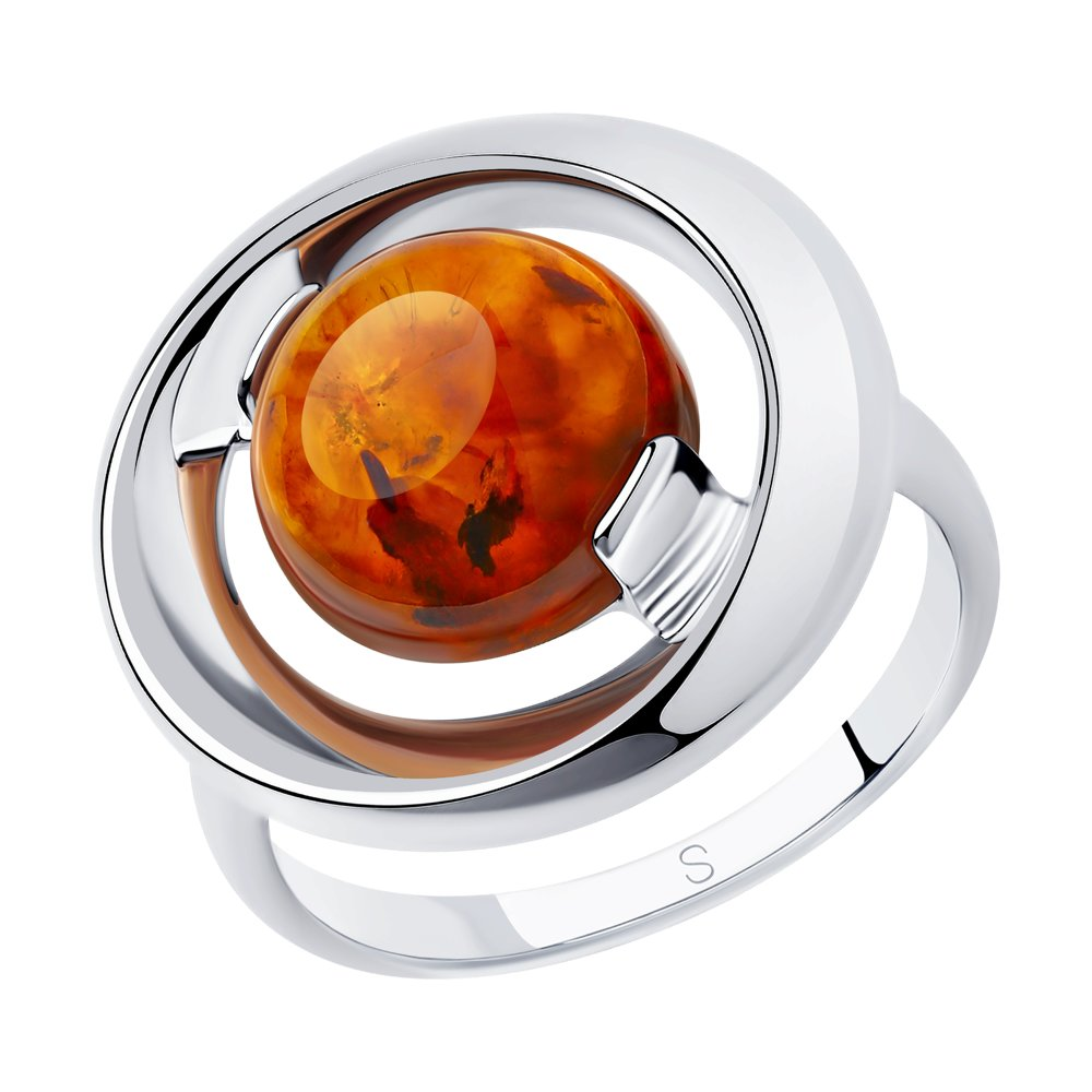 Кольцо SOKOLOV из серебра с янтарём