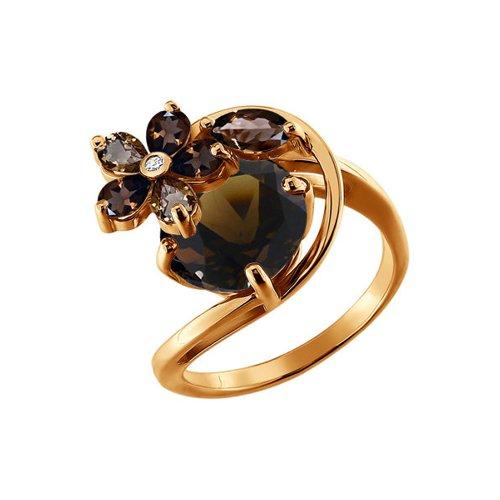 Кольцо SOKOLOV из золота с раухтопазами и фианитом кольцо из золота с раухтопазами