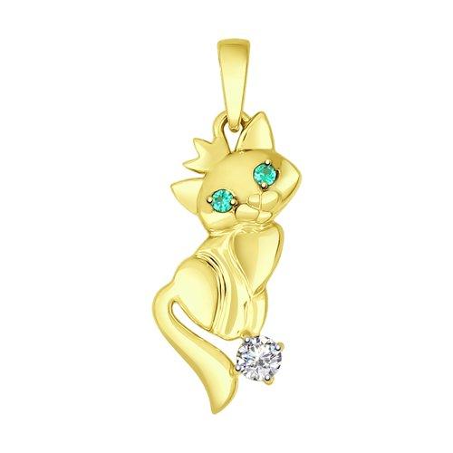 Подвеска из желтого золота «Кошка» (035028-2) - фото
