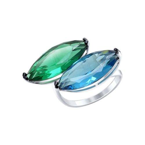 Кольцо из серебра с зелёным и синим ситаллами