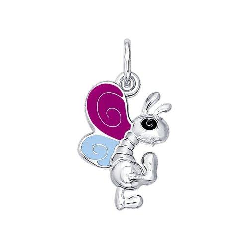 Подвеска «Танцующая бабочка» из серебра с голубой и сиреневой эмалью