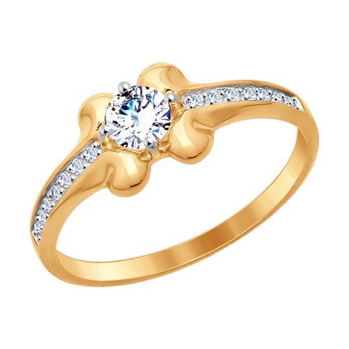 Кольцо из золота с фианитами (017645) - фото