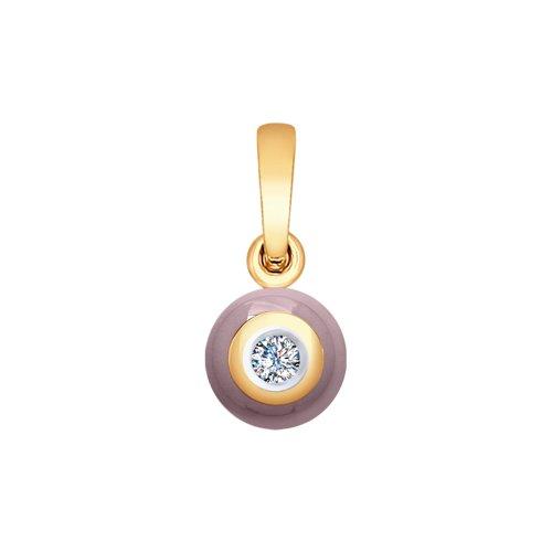 Подвеска из золота с бриллиантом и керамикой (6035034) - фото