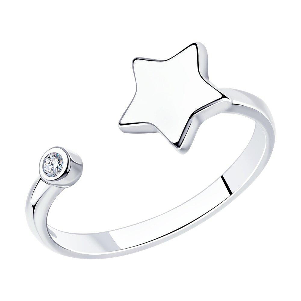 Серебряное кольцо с фианитом «Звёздочка» SOKOLOV
