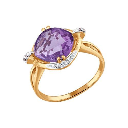 Перстень с аметистом золотой