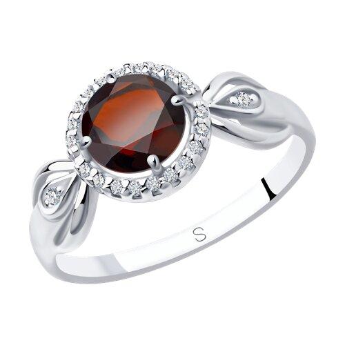 Кольцо из серебра с гранатом и фианитами