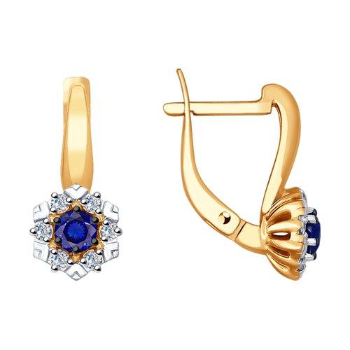 Серьги из золота с бриллиантами и синими корунд (синт.) (6022134) - фото