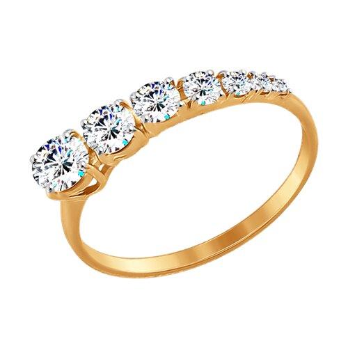 Кольцо из золота с фианитами (017442-4) - фото