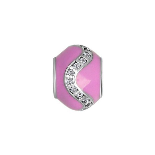 Подвеска-шарм, фианиты в розовой эмали SOKOLOV