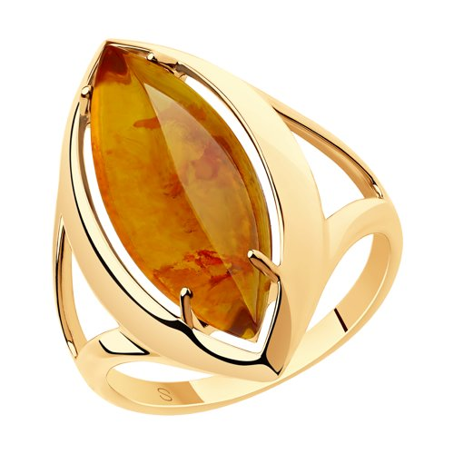 Кольцо из золочёного серебра с янтарём (83010059) - фото