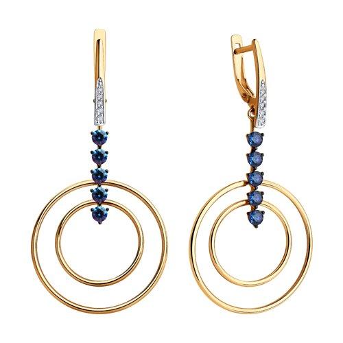 Серьги из золота с бесцветными и синими Swarovski Zirconia (81020452) - фото №2