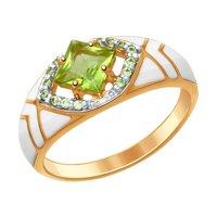 Кольцо из серебра с эмалью с хризолитом и зелеными фианитами